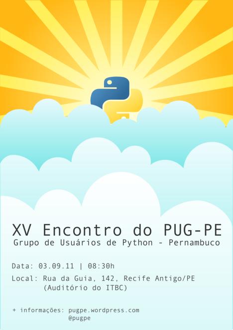 Cartaz do XV Encontro do Grupo de Usuários de Python de Pernambuco
