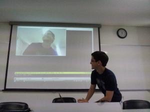 Mailson Lira apresentando seu trabalho com OpenCv + python
